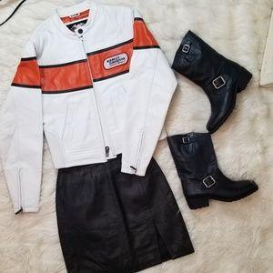 Harley Davidson White Leather Racing Jacket